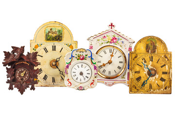 Different ancient clocks isolated on white