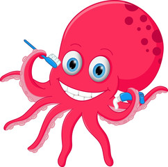 Cute octopus cartoon with toothbrush and toothpaste