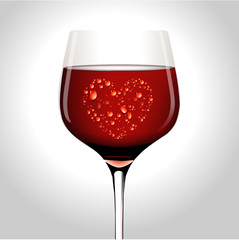 Vector illustration of water drop in heart shape on wine glass