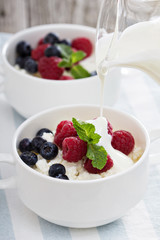 Colofrul healthy breakfast with cottage cheese