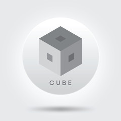 grey cube icon logo vector