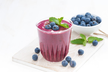 blueberry milkshake with fresh mint and chocolate
