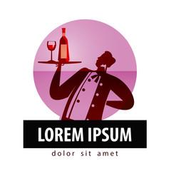 alcohol vector logo design template. bottle of wine or winemaker