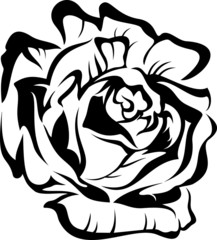 Black silhouette outline rose. Vector tattoo illustration.