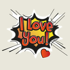Love, Comic Speech Bubble. Vector illustration