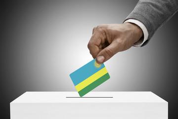 Ballot box painted into national flag colors - Rwanda