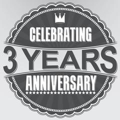 Celebrating 3 years anniversary retro label, vector illustration
