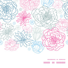 Vector gray and pink lineart florals horizontal frame seamless