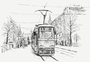 tramway in a big city