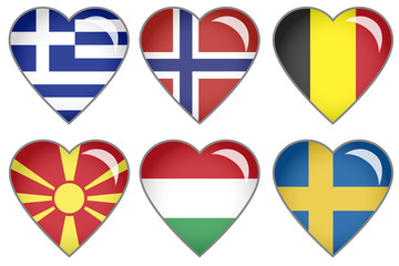 Set of hearts with national flag motive