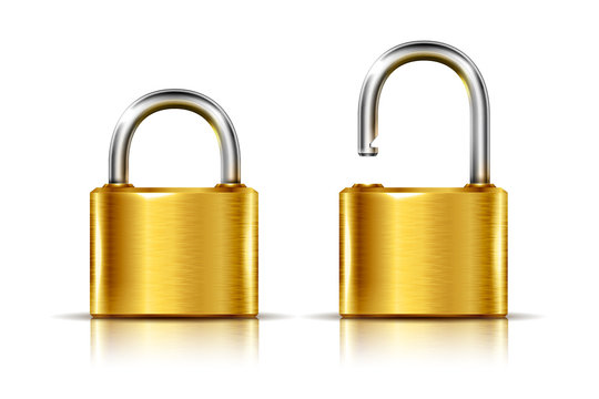 Two icons -- golden padlock in the open and closed position