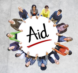 Multi-Ethnic Group People Aid Help Concept