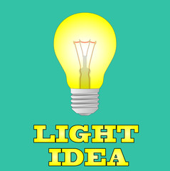 Glowing yellow light bulb as inspiration concept.