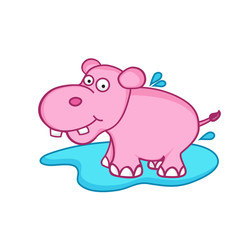 Funny cute cartoon of hippopotamus.