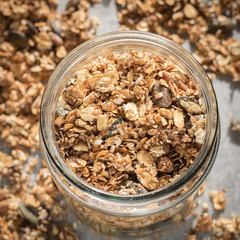Homemade Granola with Sunflower and Pumpkin Seeds in a Jar
