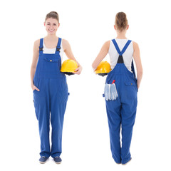 front and back view of young attractive woman builder in workwea