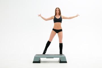 athletic girl near step