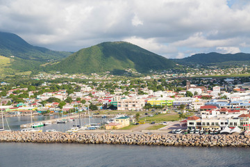 Colorful St Kitts Under Green Hills