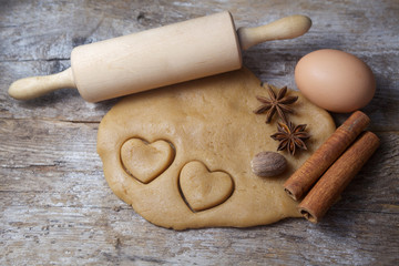 Biscuit dough with spices and tools