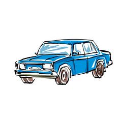 Colored hand drawn car on white background, illustration of a se