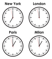 fashion world time zone clocks