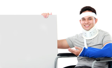injured young man present the grey board