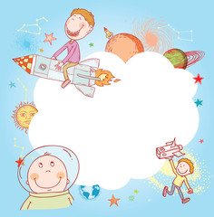 Space  Banners or Bookmarks, hand drawn vector illustration.