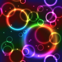 Seamless Background with Rainbow Neon Circles