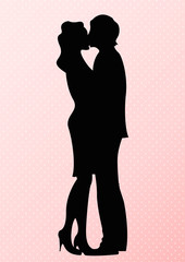 Romantic cute couple silhouette. Lovers women and man kissing