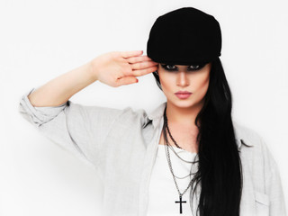 Cool fashion woman saluting