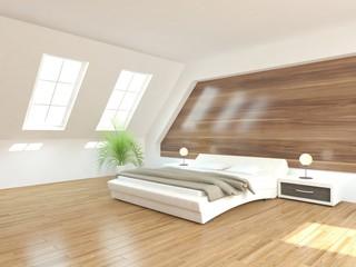 white bedroom-3d rendering