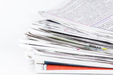 newspapers stacked with white background