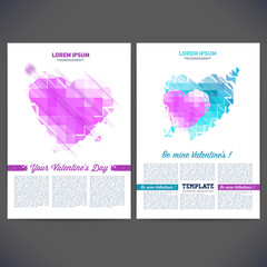 Vector geometrical composition of hearts on Valentine's Day