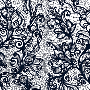 Abstract seamless lace pattern with flowers.