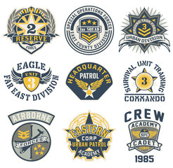 Military style patches vector collection