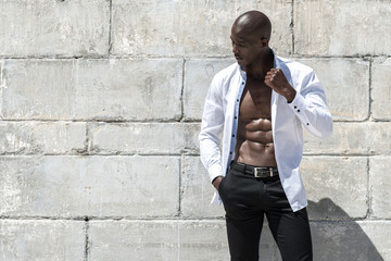 African black man model with six pack white shirt