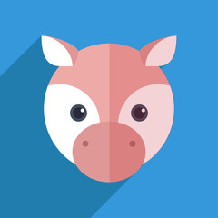 Vector illustration of a cute pig with a long shadow