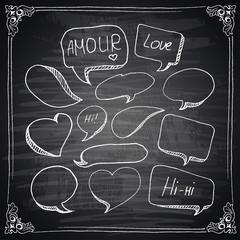 Hand drawn speech bubbles chalkboard effect.