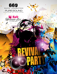 Disco Night Club Flyer layout with DJ shape and music elements