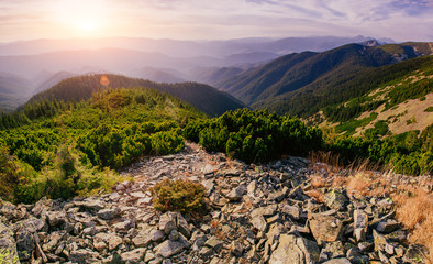 Fantastic sunset in the mountains of Ukraine. Beauty world.