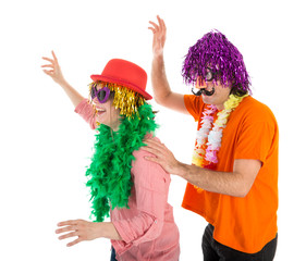 Man and Woman dressed in carnival costumes dancing a polonaise