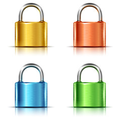 Set of multicolored closed padlocks, isolated