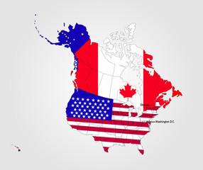 Karte von Nordamerika - USA und Kanada mit Landesflaggen