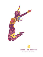 Vector colorful stars jumping girl silhouette pattern frame