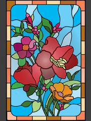 Beautiful flowers on stained glass window