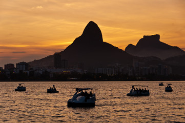 Pedal Boats in the Lake with Mountain Landscape in Rio