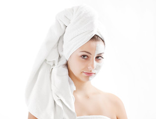 Spa woman isolated - clean skin with mask