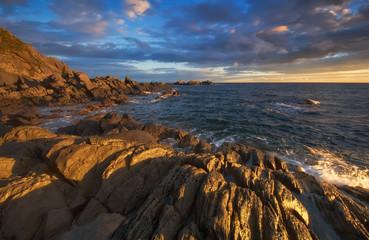 Beach Golden stones.