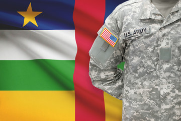 American soldier with flag - Central African Republic