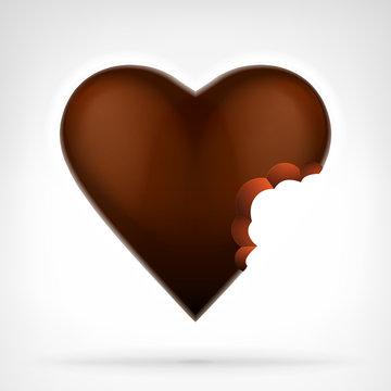 I love candy concept as bitten brown chocolate heart design
